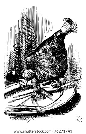 The Leg of Mutton - Through the Looking Glass and what Alice Found There original book engraving.And the waiters set a leg of mutton before Alice, who looked at it rather anxiously. - stock vector