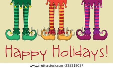 The legs and shoes of Santa's elves. EPS10 vector format - stock vector