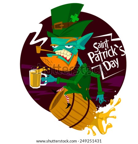 the leprechaun green dwarf four leaf clover St. Patrick's day Irish celebration gold tricky leprechaun national holiday Europe beer saint keg piss cup - stock vector