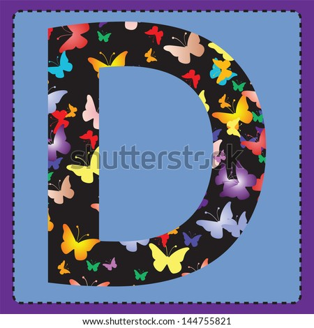 The letter D with colorful butterflies to the square.