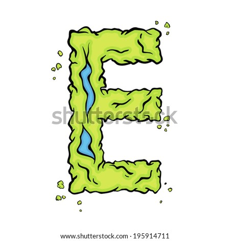 The letter E. Bright green element stylish alphabet style zombies. Halloween ABC grimy element in the vector. Hand drawn letter E isolated on white background. - stock vector