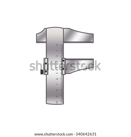 """The letter """"F"""" with gears, spare parts, bolts, screws, clockwork. Mechanical design. Metal iron and gradient. - stock vector"""