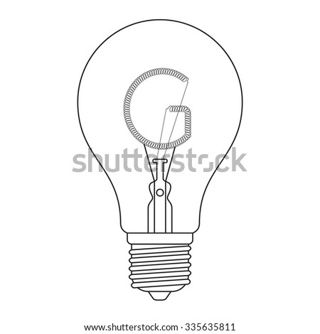 The letter G, in the alphabet Incandescent light bulb set outline style black and white color isolated on white background