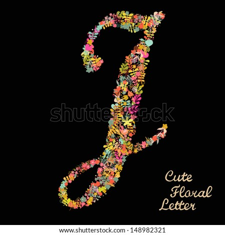 Letter J Made Flowers Stock Royalty Free
