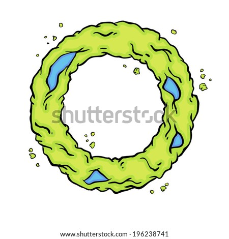 The letter O. Bright green element stylish alphabet style zombies. Halloween ABC grimy element in the vector. Hand drawn letter O isolated on white background. - stock vector