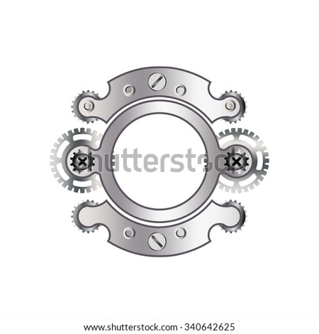 """The letter """"O"""" with gears, spare parts, bolts, screws, clockwork. Mechanical design. Metal iron and gradient. - stock vector"""