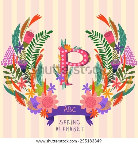 The letter P. Floral hand drawn monogram made of flowers and leafs in vector. Spring floral ABC element in vector. Can be used for posters, cards, blogs, backgrounds and any  stylish designs - stock vector