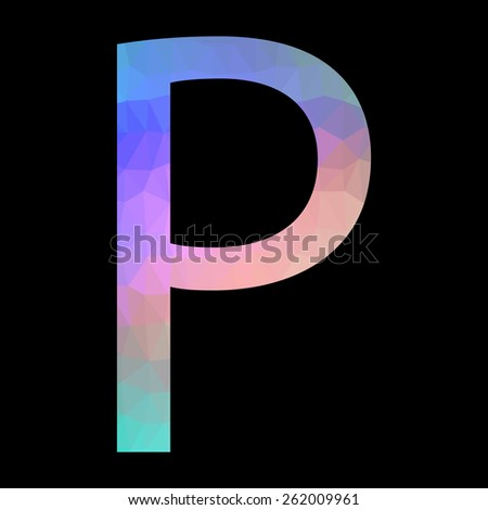 The letter P with triangles. Vector.  - stock vector