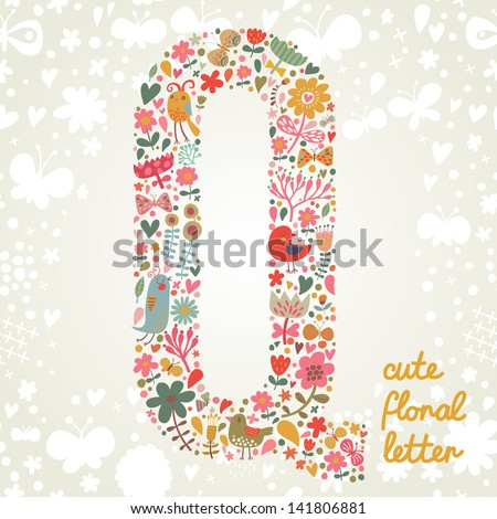 The letter Q. Bright floral element of colorful alphabet made ??from birds, flowers, petals, hearts and twigs. Summer floral ABC element in vector - stock vector