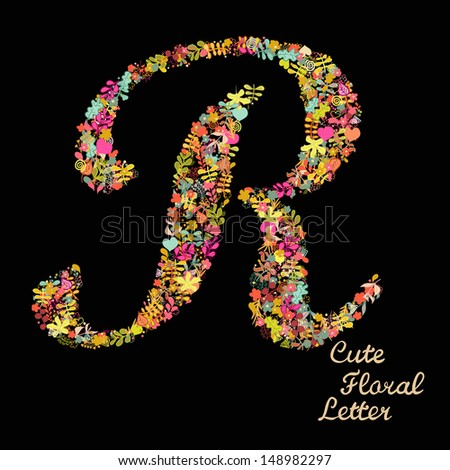 Letter r bright floral element colorful stock vector royalty free the letter r bright floral element of colorful alphabet made from flowers petals altavistaventures Choice Image