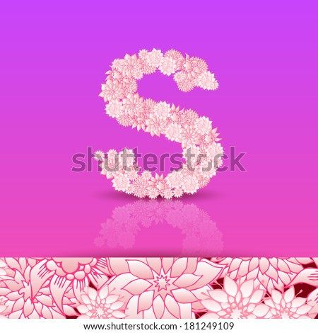 The letter S. Bright floral element of colorful alphabet. Summer floral ABC element in vector. - stock vector