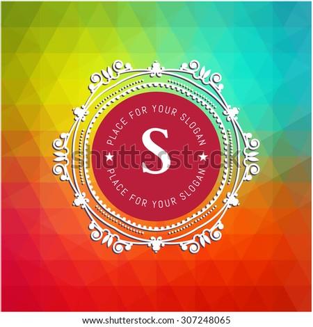 The letter S & colored triangular texture. Flourishes calligraphic monogram emblem template. Luxury elegant frame ornament line logo design vector illustration. Example designs for Cafe, Hotel - stock vector