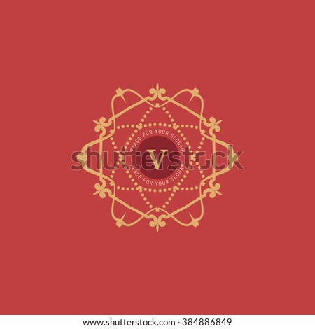 The letter V. Flourishes calligraphic monogram emblem template. Luxury elegant frame ornament line logo design vector illustration. Example designs for Cafe, Hotel, Heraldic, Restaurant, Boutique - stock vector