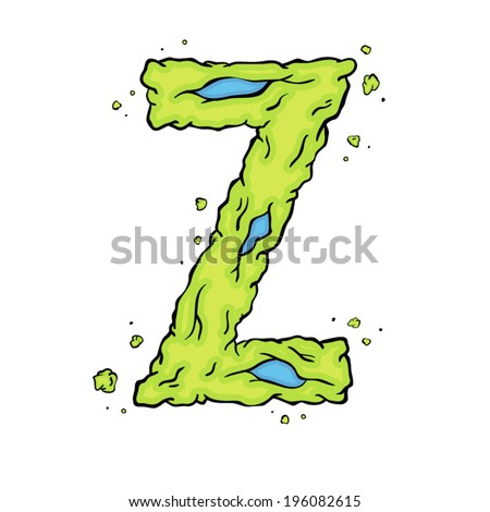 The letter Z. Bright green element stylish alphabet style zombies. Halloween ABC grimy element in the vector. Hand drawn letter Z isolated on white background. - stock vector
