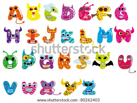 the 26 letters monster - letter from A to Z - stock vector