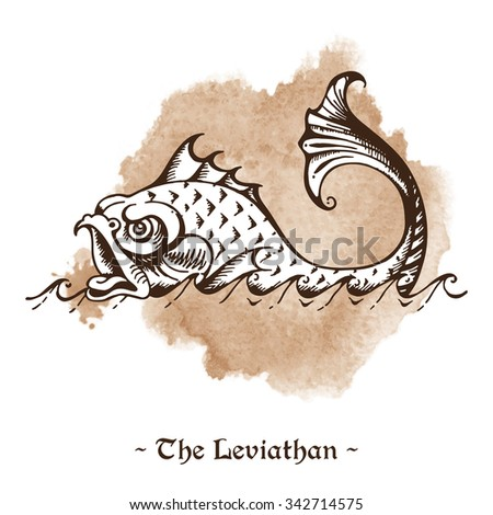 The Leviathan. Legendary sea monster giant whale hand drawn vector illustration - stock vector