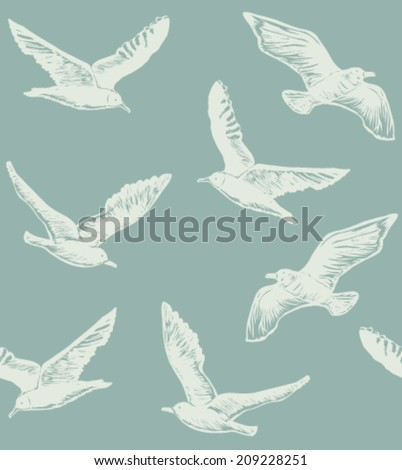 the light background with seagulls - stock vector