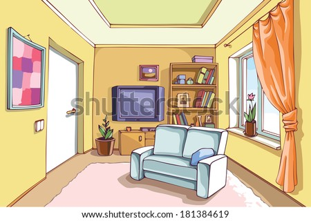 The light interior of a living room in a bright sunny day. The vector EPS v.10 is layered.
