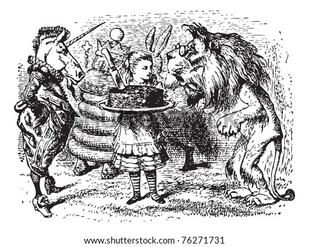 The Lion and the Unicorn - Through the Looking Glass original book engraving. Haigha took a large cake out of the bag, and gave it to Alice to hold, while he got out a dish and carving-knife - stock vector