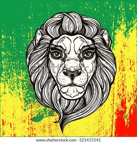 The lion of Judah head (reggae background). Lion in vintage linear style on Rastafarian colors of Jamaica . Concept design, Elegant tattoo artwork. Isolated vector illustration. - stock vector