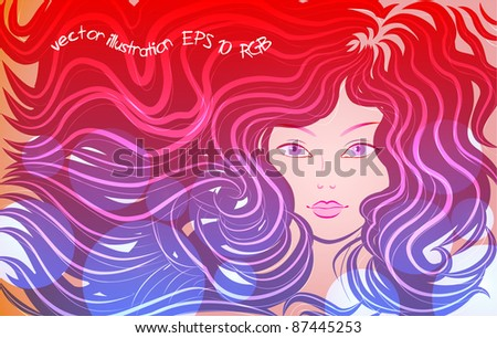 the little mermaid, vector illustration - stock vector