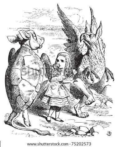 The Lobster Quadrille - Alice's Adventures in Wonderland original vintage engraving. The Mock Turtle and the Gryphon demonstrating the Lobster Quadrille dance to Alice. Illustration from John Tenniel - stock vector