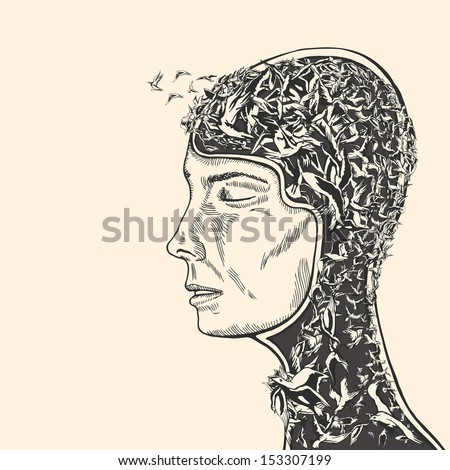 The Logic of Sense in the world of Psychology and Spirituality. . Woman head covered with birds. - stock vector