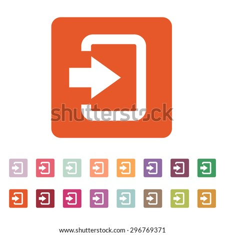 The login icon. Entry and input, authorization symbol. Flat Vector illustration. Button Set - stock vector
