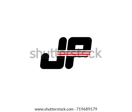 The logo of the initial letter JP, black red line