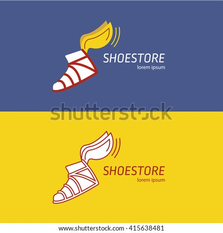 The logo with the image of the winged sandals of Hermes. Two options: color and black-and-white contour. It can be used as a logo for a shoe store or fast delivery service. Vector illustration.
