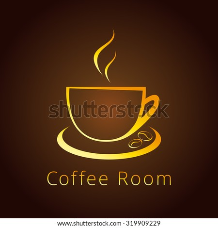 The logotype with golden coffee beans for coffee houses and cafes. Cafe cup logo. - stock vector