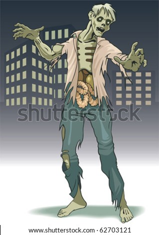 The lonely zombie costs on background city landscape. - stock vector