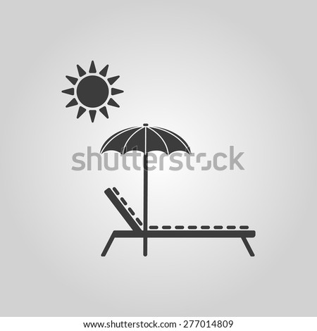 The lounger icon. Sunbed symbol. Flat Vector illustration - stock vector