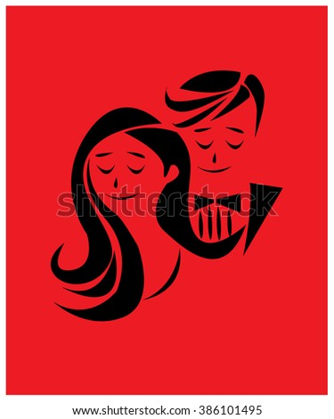 The lover couple vector illustration on red background for wedding card, valentine card, poster or decoration on paper. - stock vector