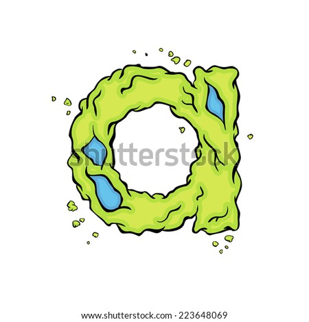 The lowercase letter A. Bright green element stylish alphabet style zombies. Halloween ABC grimy element in the vector. Hand drawn letter A isolated on white background.  - stock vector