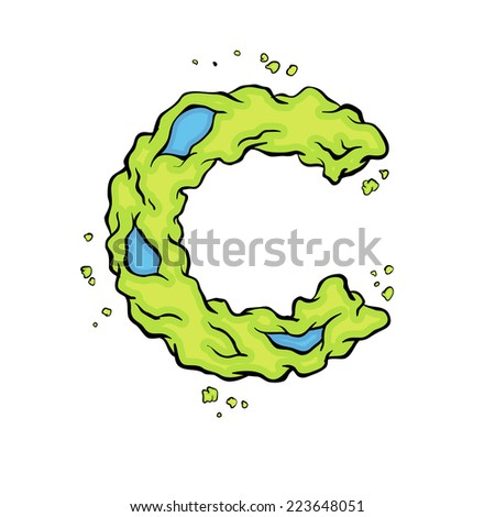 The lowercase letter C. Bright green element stylish alphabet style zombies. Halloween ABC grimy element in the vector. Hand drawn letter C isolated on white background.  - stock vector