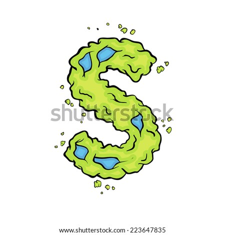 The lowercase letter S. Bright green element stylish alphabet style zombies. Halloween ABC grimy element in the vector. Hand drawn letter S isolated on white background.  - stock vector