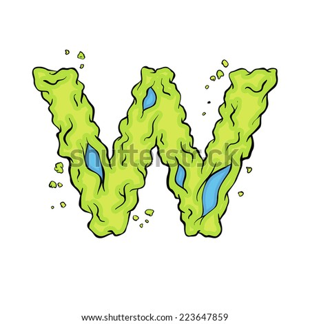 The lowercase  letter W. Bright green element stylish alphabet style zombies. Halloween ABC grimy element in the vector. Hand drawn letter W isolated on white background.  - stock vector
