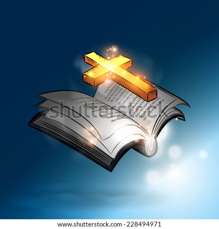 The magic bible book with lighting gold cross - stock vector
