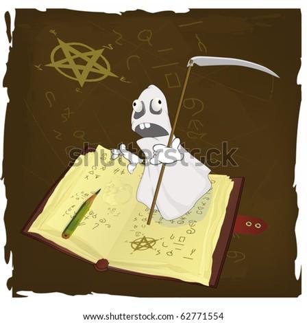 The magic book and evil spirits prisoner - stock vector