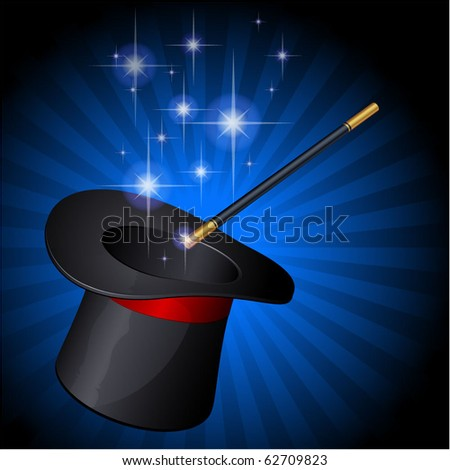 The magic hat. Vector. - stock vector
