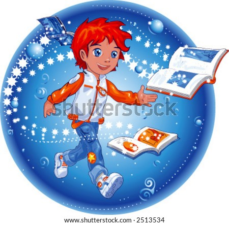 The magic of books illustrated in vector with layers - stock vector