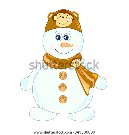The main symbol of this vector illustration is snowman. It's dressed in hat with image of monkey and  scarf with monkey-brooch. Image belongs to theme of winter holidays.  - stock vector