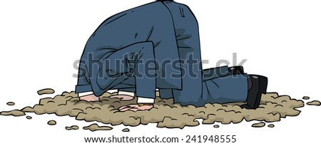 The man buried his head in the sand vector illustration - stock vector