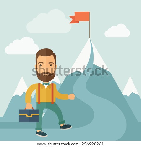 The Man Climbing the Mountain of Success - stock vector