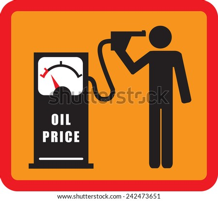 the man commits suicide with the pistol of the gasoline pump (FALLING OIL PRICE) illustration, flat design - stock vector