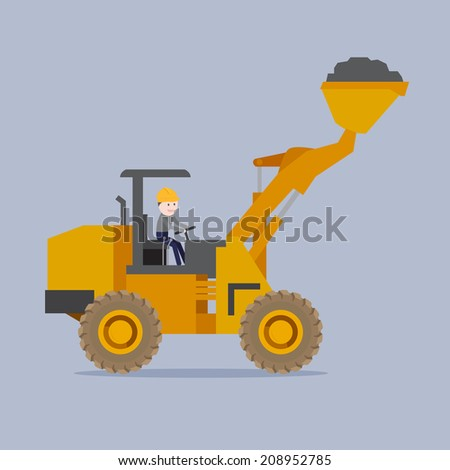 The man driving the loader, illustration vector design, - stock vector
