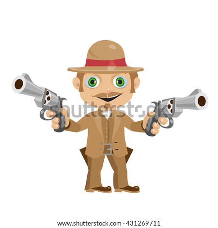 The man from the wild West fun with two revolvers. Vector illustration.