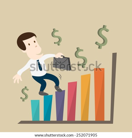 The man growth in business chart - stock vector