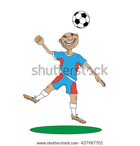 the man in the uniform of a football player hit his head on the ball - stock vector